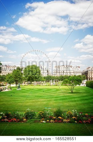 Tuileries garden at summer day, Paris, France, retro toned