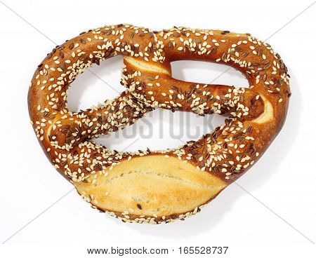a fresh pretzel isolated over white background