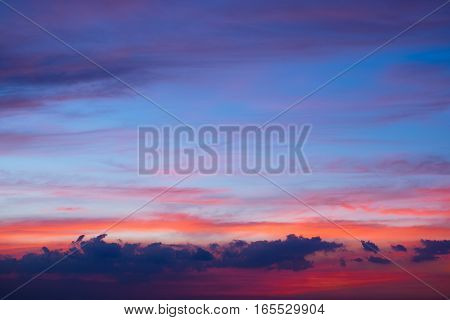 Beautiful twilight sky over the city for background