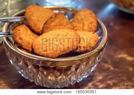 Close-up of tasty cookies on wooden table
