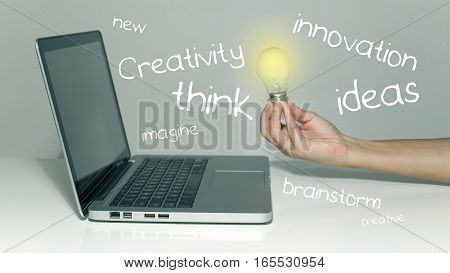 Creativity creative ideas innovative technologies concept with light bulb and laptop in office