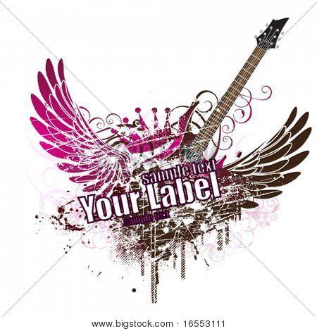 Grunge design with guitar