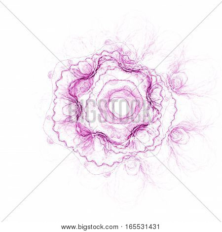 Abstract Stylized Rose Flower On White Background. Fantasy Fractal Design In Pastel Pink Colors. Dig