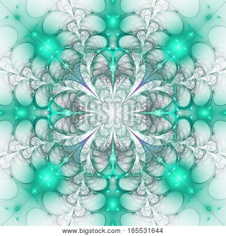 Abstract Exotic Glowing Flower On White Background. Psychedelic Mandala Design In Cyan Blue And Grey