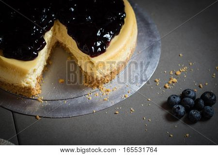 Piece Of Freshness Delicious Blueberry Cheese Cake On Plate