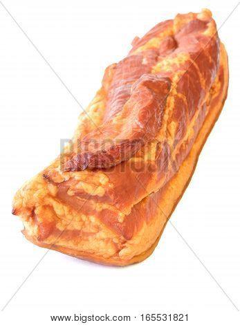 Freshly Smoked Pork Isolated On White Background.