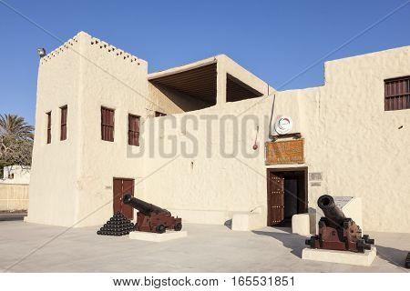 UMM AL QUWAIN UAE - NOV 30 2016: The museum fort in Umm Al Quwain. United Arab Emirates Middle East