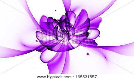 Abstract Exotic Flower With Textured Petals On White Background. Fantasy Fractal Design In Bright Pu
