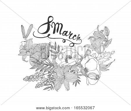 8 March. Woman's Day. Card With Flowers
