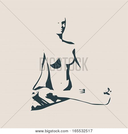 Woman sit in meditation pose. Sexy women silhouettes. Fashion mannequin isolated. Female figure posing. Profile view. Yoga Center Emblem.