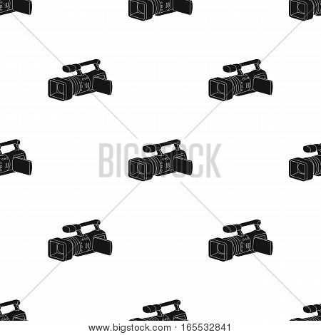 Camcorder icon in black style isolated on white background. Event service pattern vector illustration.