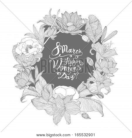 8 March. Happy Woman's Day! Linear Floral Wreath
