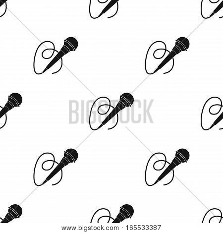 Microphone icon in black style isolated on white background. Event service pattern vector illustration.