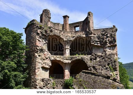 A section the the Castle Heidelberg still in ruins Heidelberg Germany.
