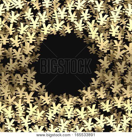 many gold yen symbol background. 3d rendering