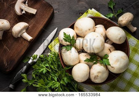 Mushrooms and ingredients for cooking. Top view food background.
