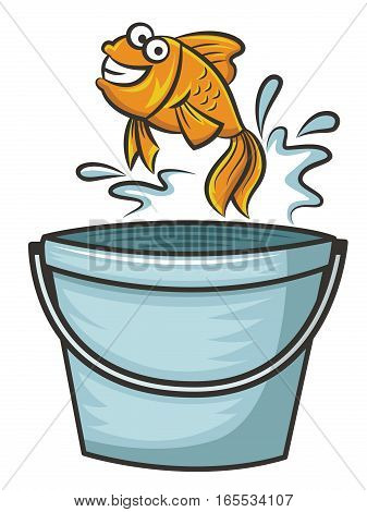 Goldfish Jumping from Bucket Cartoon Illustration Isolated on White