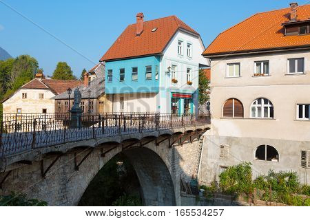 Old Stone bridge in Skofja Loka town Slovenia