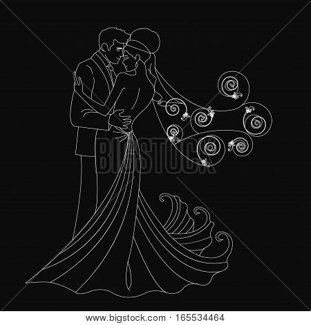 Black silhouette, kissing bride and groom dance - vector