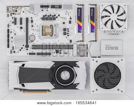 PC hardware components on white wood. 3d illustration