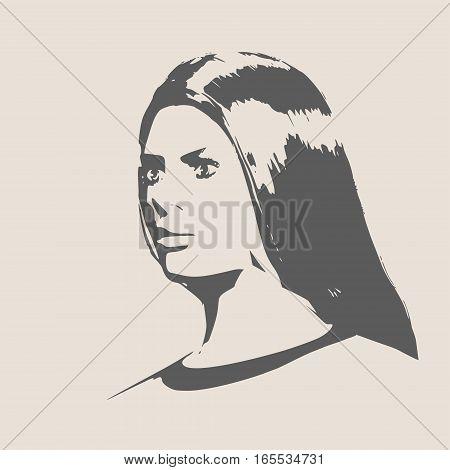 Face profile view. Elegant silhouette of a female head. Vector Illustration. Long hair. Monochrome gamma
