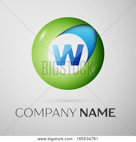 Letter W vector logo symbol in the colorful circle on grey background. Vector template for your design