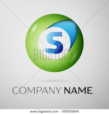 Letter S vector logo symbol in the colorful circle on grey background. Vector template for your design