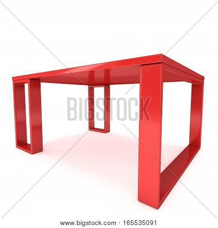 Red Table. 3D render isolated on white. Platform or Stand Illustration. Template for Object Presentation.