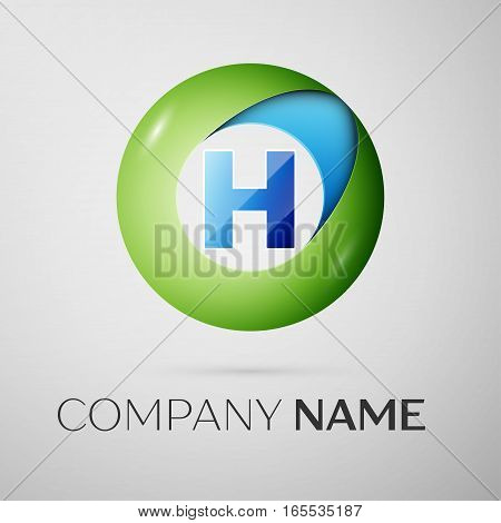 Letter H vector logo symbol in the colorful circle on grey background. Vector template for your design