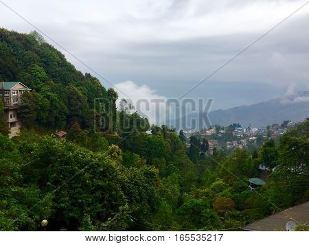 Beautiful view from above the hills at Darjeeling,  West Bengal India
