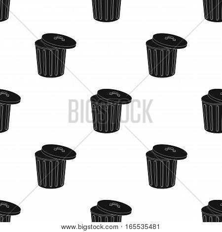 Trash can icon in black style isolated on white background. Trash and garbage pattern vector illustration.