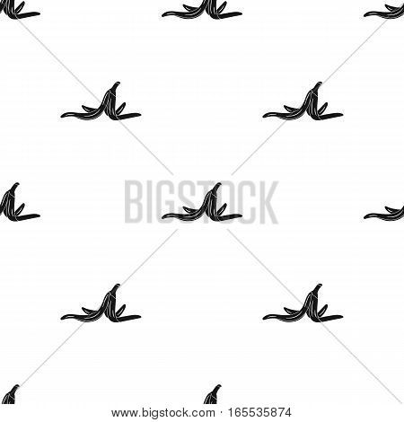 Peel of banana icon in black style isolated on white background. Trash and garbage pattern vector illustration.