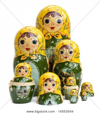 Family of Russian nested dolls isolated on white