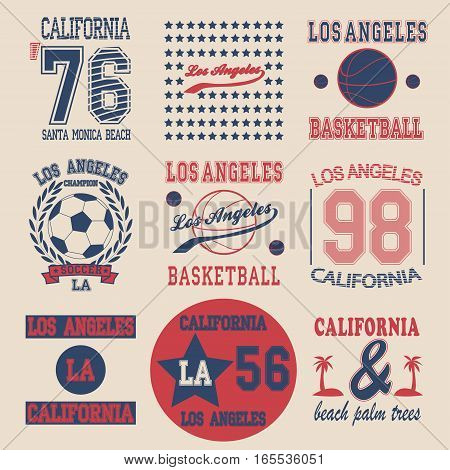 California College fashion design print for t-shirt set - vector