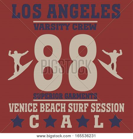 Los angeles California surf typography, t-shirt graphics - vector