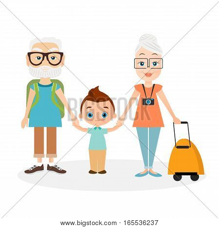 Grandparents with grandson. Grandfather and grandmother with a packsack travel. Travelling with the knapsack. Vector illustration eps 10 isolated on white background. Flat cartoon style