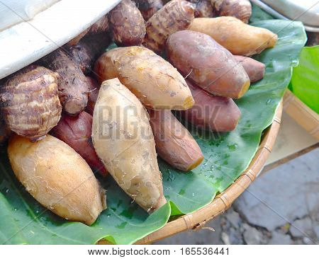 Boiled taro and sweet potato on the table in Taiwan