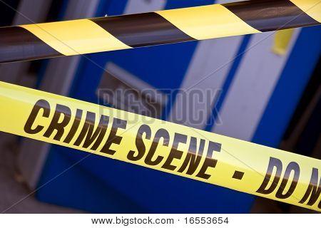 Close up crime scene investigation police boundary tape