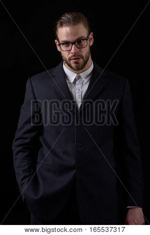 Business Man In Black Suit