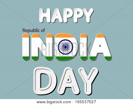 different vector lettering word of happy republic of india day with national flag and white gray gradient as paper or metallic effect on blue retro colors background