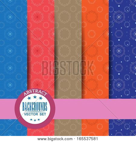 Vector set of seamless abstract pattern with snowflakes, lace pattern, stripe and shadow.