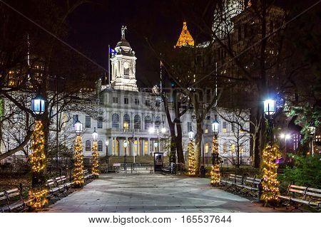 City Hall building at night in Lower Manhattan New York City