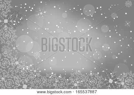 Vector winter abstract gray background with radiance, snowfall and snowflakes.