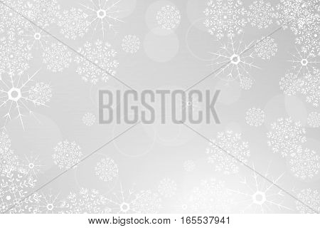 Vector winter abstract light gray background with radiance, snowfall and snowflakes.
