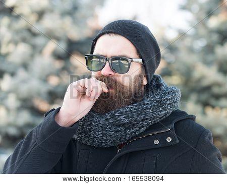Bearded Man On Winter Day