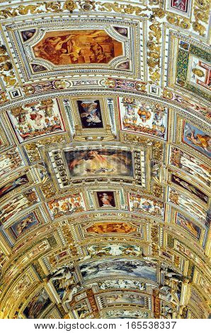 VATICAN - APRIL 29, 2014: Detail of the ceiling in one of the galleries of the Vatican Museums