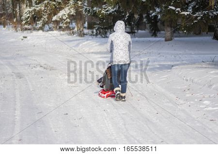 DNEPR UKRAINE - DECEMBER 04, 2016:Mother walking on an empty snowy street driving modern sledge with kid in Dnepr Ukraine, at December 04, 2016