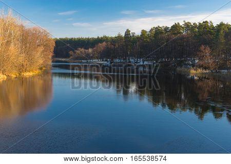 Morning landscape on a Vorskla river at late autumnal season in Ukraine