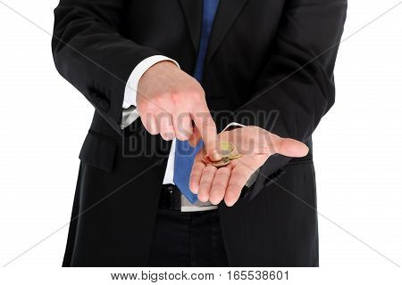 broke businessman counting or showing coins in his palm