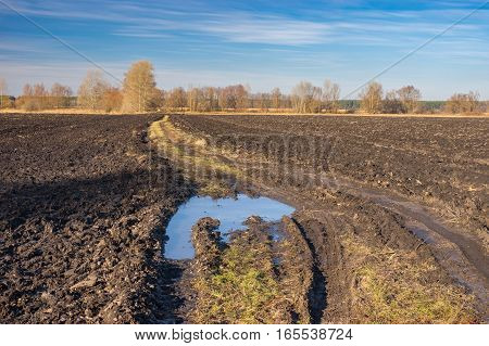 Landscape with agricultural fields and dirty road in central Ukraine at late autumnal season